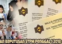 Semakan Keputusan STPM Penggal 1 2018 Online