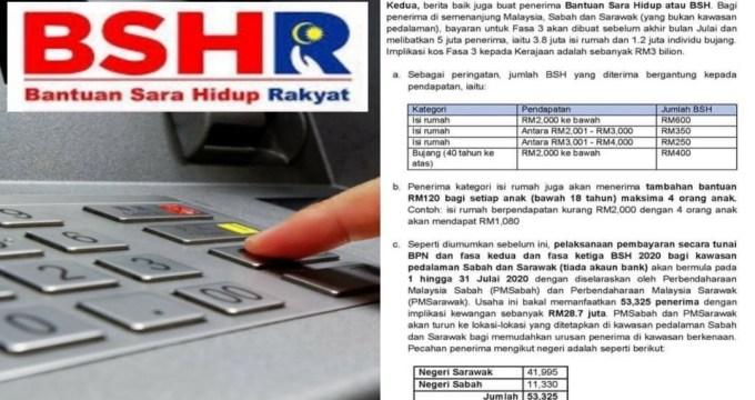 Tarikh Bayaran BSH Fasa 3 Bersama Tambahan RM100 + RM120 Untuk Anak Sebelum Akhir Bulan Julai