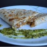 Mushroom and Onion Quesadillas with Cilantro Garlic Oil
