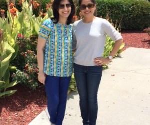Parita and Ruchi meet at Global Mall