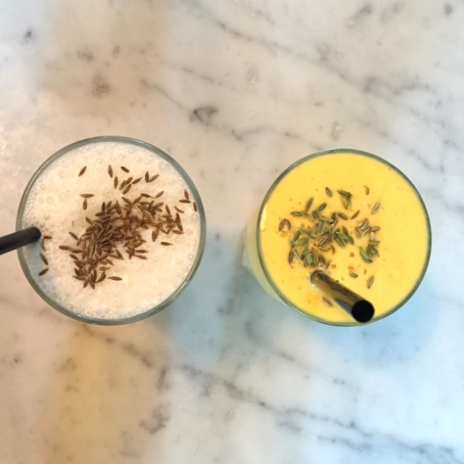 Salted and mango lassis at Dishoom King's Cross location London