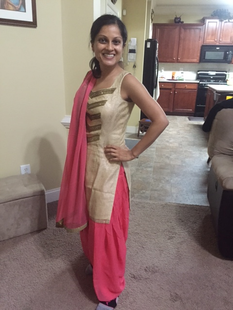Cream and pink Indian outfit