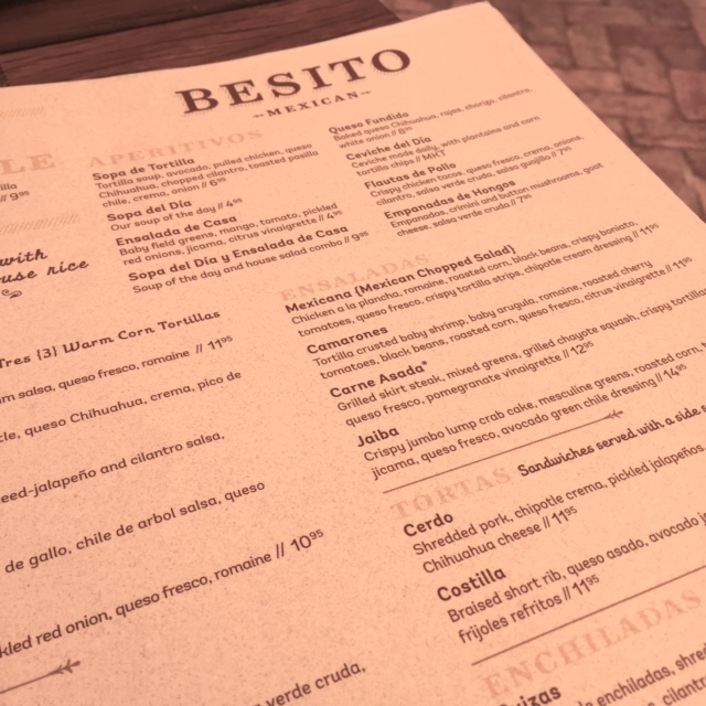 Besito Tampa Menu