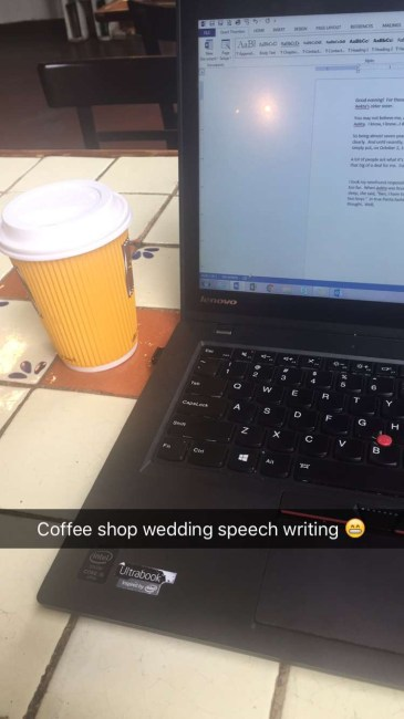 Coffee shop wedding speech writing