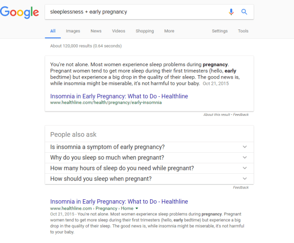 Google - sleeplessness + early pregnancy