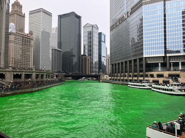 Chicago River on St. Patty's weekend