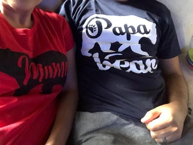 Mama bear and papa bear tshirts