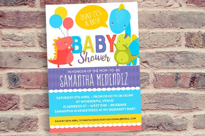 Boy or Girl Dinosaur Baby Shower Invitation