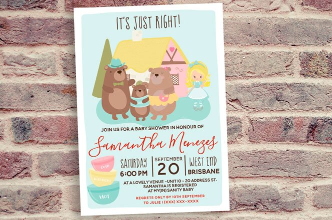 Goldilocks Baby Shower Invitation