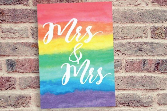 Rainbow Lesbian Wedding Invitation