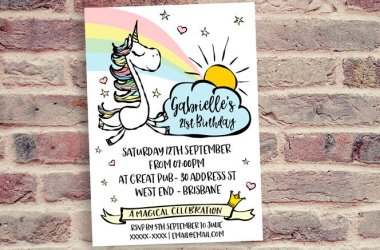 Adult Unicorn Party Invitation