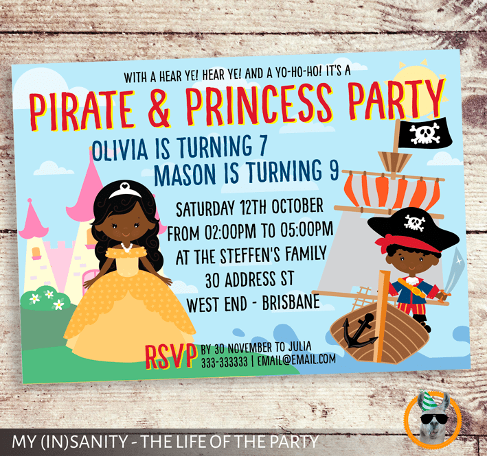 princess and pirate invitation