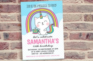 Cat Unicorn Tea Party Invitation