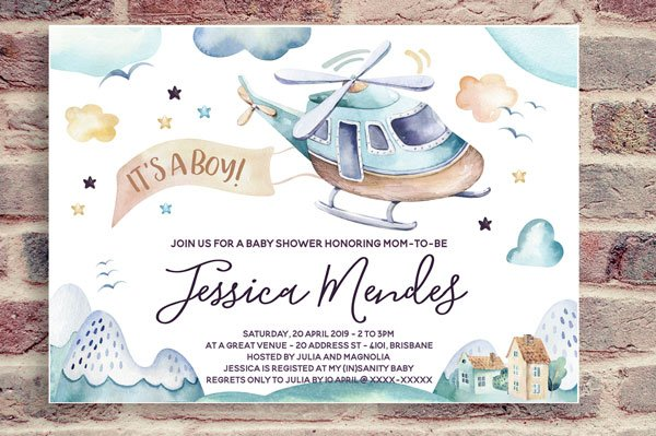 Helicopter Invite for Baby Shower