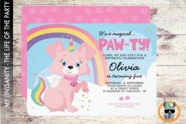 Unicorn Puppy Birthday Invitation