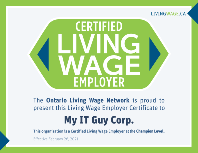 My IT Guy Corp is a Certified Living Wage Employer