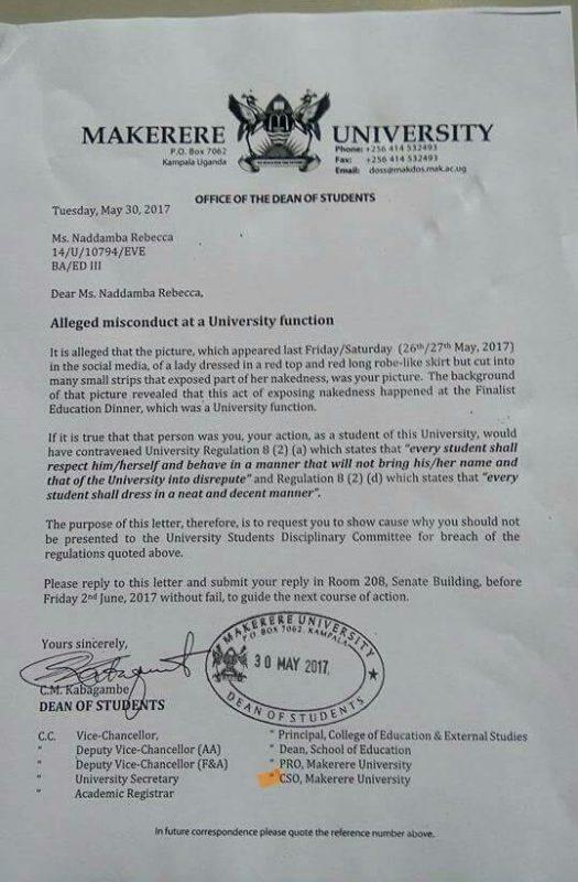 Uganda half naked student letter