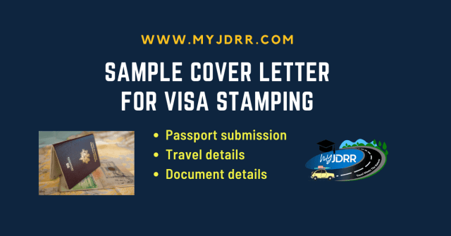 Sample Cover Letter - Submitting passport for visa stamping