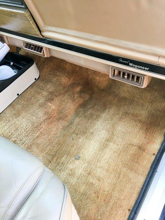 Jeep Carpet Dyed with Tan RIT Dye