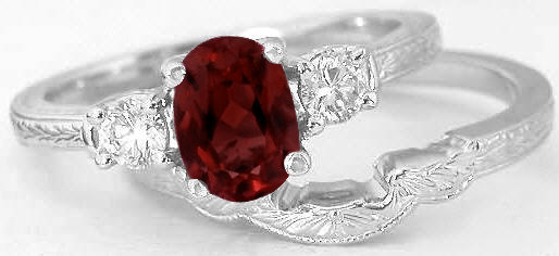 Vintage Garnet Engagement Ring And Matching Wedding Band In 14k White Gold Gr 8044