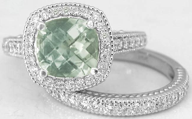 Cushion Cut Green Amethyst Diamond Halo Engagement Ring