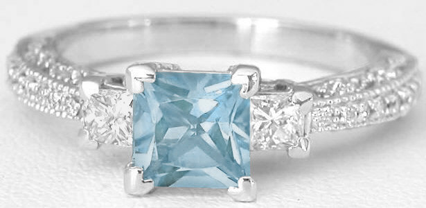 Princess Cut Aquamarine Engagement Ring And Matching Wedding Band With Vintage Antique