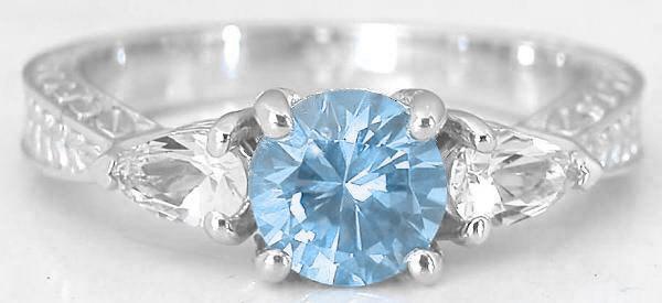 Three Stone Aquamarine Engagement Ring And Engraved