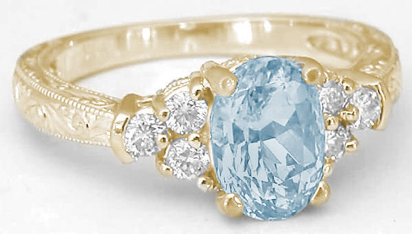 Aquamarine Ring In Yellow Gold With EngravingGR 1129