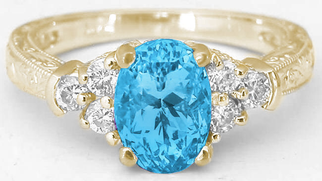 Swiss Blue Topaz Ring With Engraving In Gold GR 6093