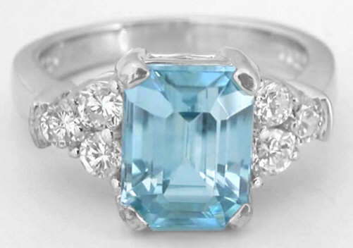 Emerald Cut Blue Zircon Engagement Ring In 14k White Gold