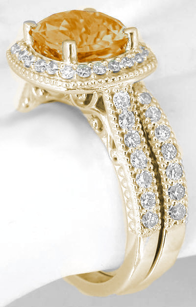 Cushion Citrine Engagement Ring And Matching Diamond