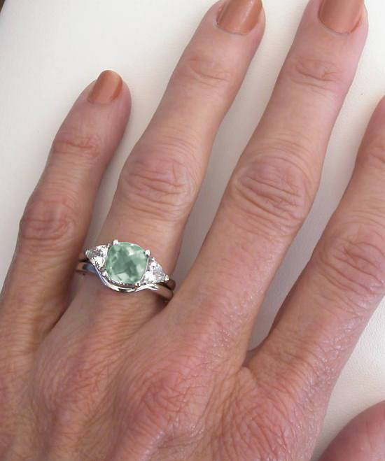 Green Amethyst Engagement Ring Three Stone Design And