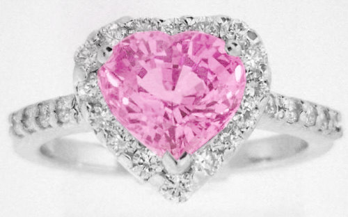 Heart Shape Pink Sapphire And Diamond Halo Ring In 14k