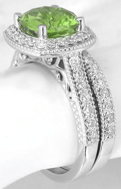 Cushion Cut Peridot Diamond Halo Engagement Ring And Matching Diamond Wedding Band In 14k White