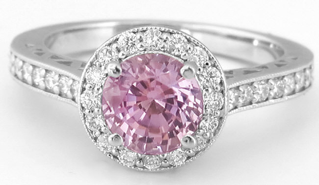 Round Pink Sapphire White Gold Ring With Diamond Halo And