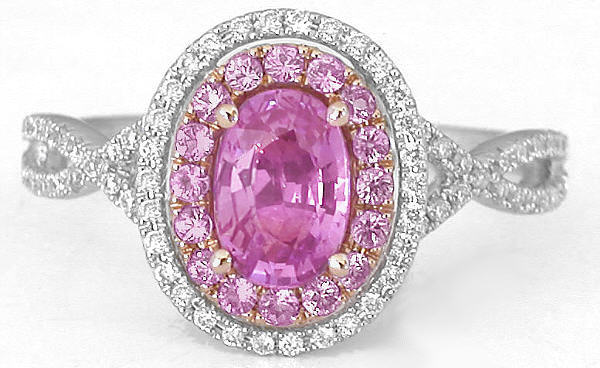 Pink Sapphire Ring With Pink Sapphire And Diamond Halos In