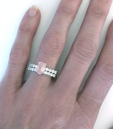 Natural Light Pink Sapphire Engagement Ring In 14k White