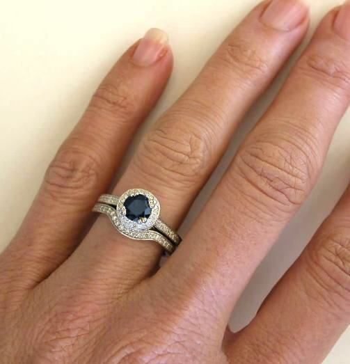 Dark Blue Sapphire Engagement Ring And Matching Contoured
