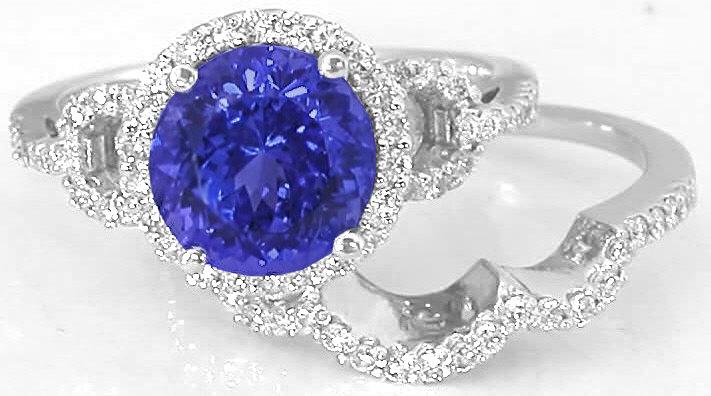 Tanzanite Diamond Engagement Ring With Matching Diamond Wedding Band In 14k White Gold Gr 7076