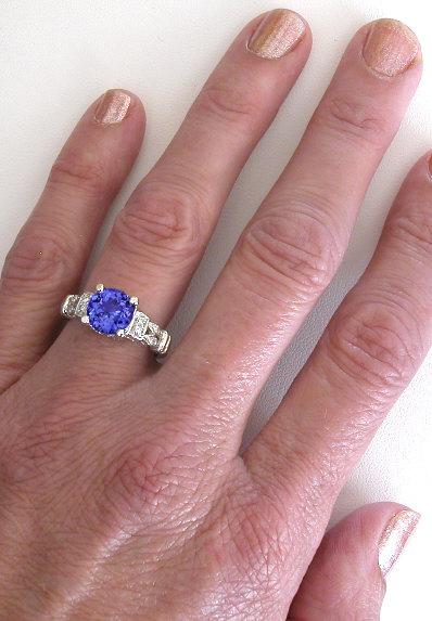 8mm Round Tanzanite Engagement Ring With Three Matching