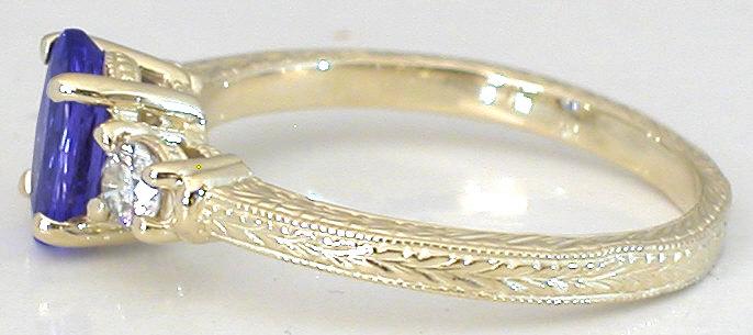 Three Stone Tanzanite Engagement Ring And Wedding Band