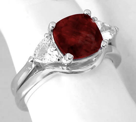 3 Stone Garnet Engagement Ring And Wedding Band In 14k White Gold Gr 8045