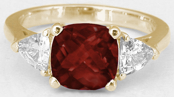 Cushion Cut Garnet Engagement Ring In 14k Yellow Gold With Matching Contoured Wedding Band Gr 8051