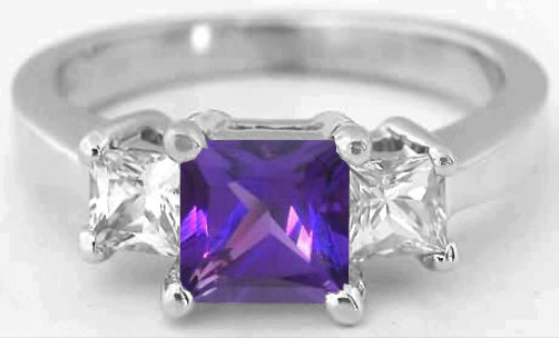 Princess Cut Amethyst And White Sapphire Engagement Ring Diamond Alternative With Matching