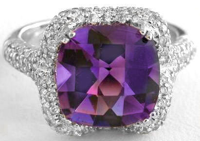 Gorgeous 10mm Cushion Cut Amethyst And Micro Pave Diamond