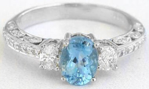 Antique Style Aquamarine And Oval Diamond Engagment Ring In 14k White Gold Gr 1059