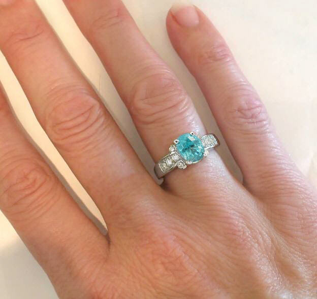Natural Blue Zircon Engagement Ring In 14k White Gold Gr