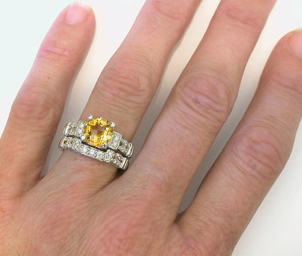 Citrine Diamond Engagement Ring In 14k White Gold With