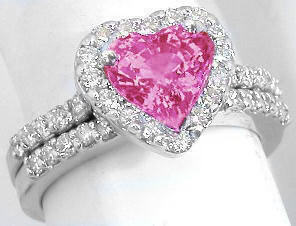 Pink Gemstone Rings With Heart Shape Pink Sapphire Gr 5605