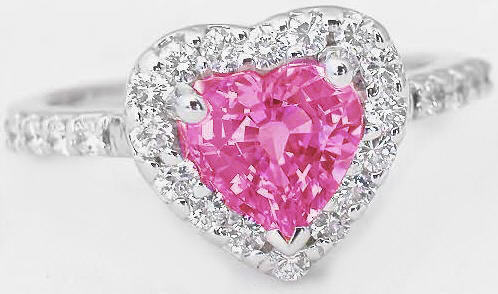 Heart Shape Pink Sapphire And Diamond Halo Engagement Ring And Matching Diamond Band Gr 5605